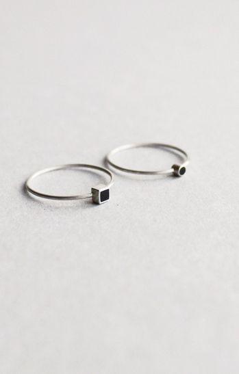 Very tiny rings: handmade, silver, vintage ebony