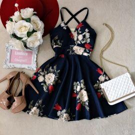 Vestido Laísa Alcinha Rodado  No neoprene C/ BOJO( FUNDO AZUL)