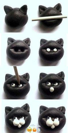 fimo broche chat