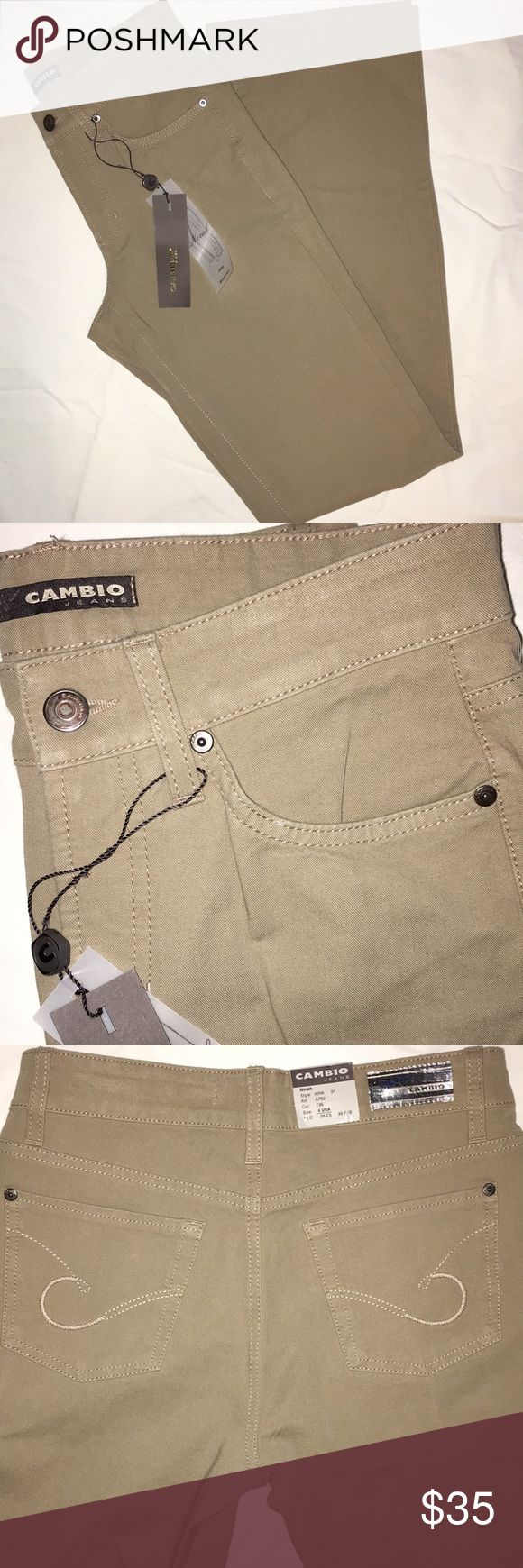 """Khaki Cambio """"Norah"""" bootcut jean Longer, 34"""" inseam, 93% cotton, 7% elastane. 5 pocket style with belt loops. Flattering cut. Color is khaki; note: last two photos are indications of identical cut, not color. Cambio Jeans Boot Cut"""
