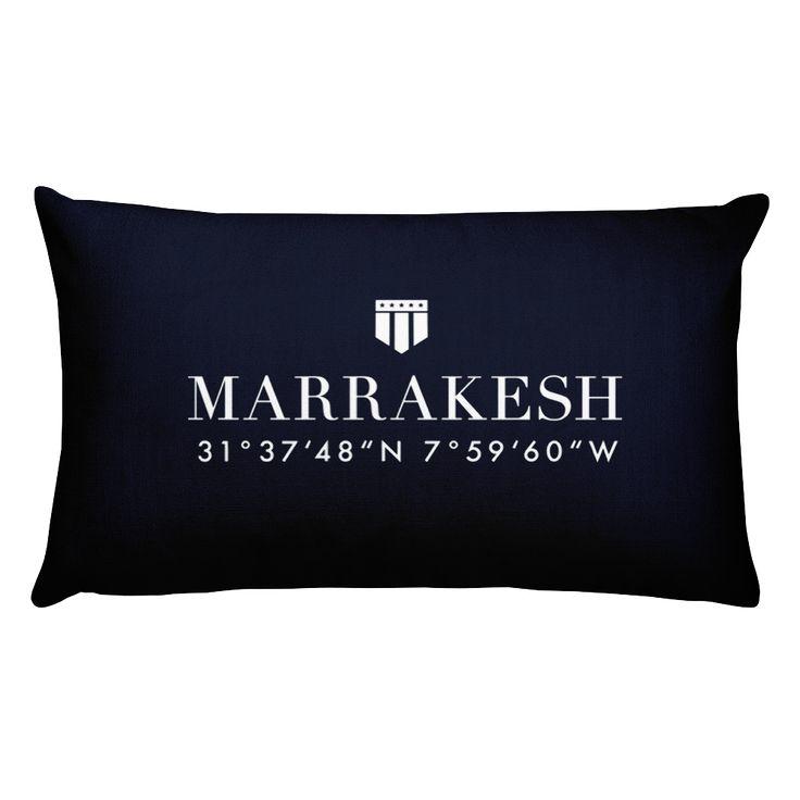 Marrakech, Africa Pillow with Coordinates