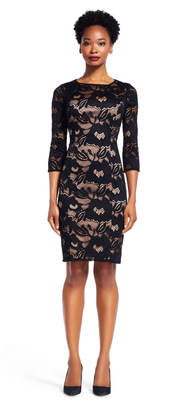 Adrianna papell navy long sheer sleeve lace dress