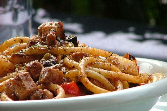 Pasta with Swordfish Ragu. Bucatini al ragù di pesce spada.