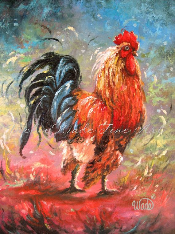 Rooster Oil Painting rooster paintings by VickieWadeFineArt, $85.00