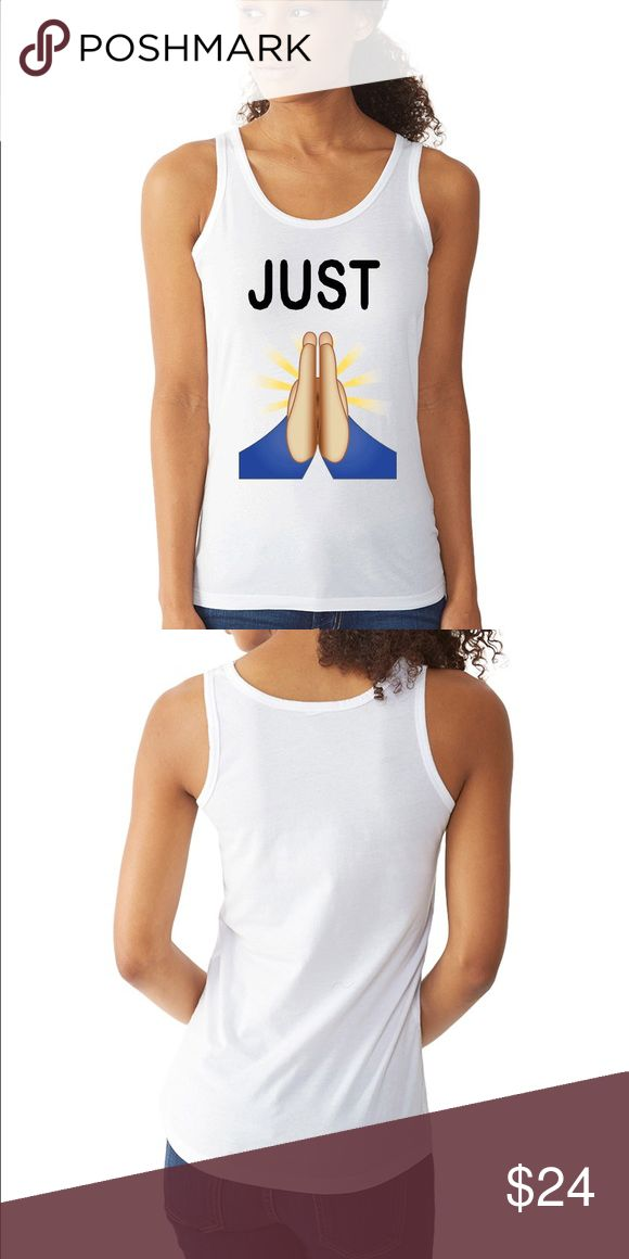 The Praying emoji Tank It's the kind of tank that feels like you've lived in it—right from the first wear. A loose fit, high-low hem, and lower scoop neckline give a flattering shape, while the soft 50/50 fabric keeps it comfortable.  ·         Vintage 50/50 ·         50% Cotton, 50% Polyester ·         4.4-ounce Tops Tank Tops