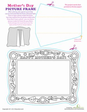 Mother's Day Kindergarten First Grade Preschool Paper Projects Greeting Cards Worksheets: Print a Paper Picture Frame for Mother's Day