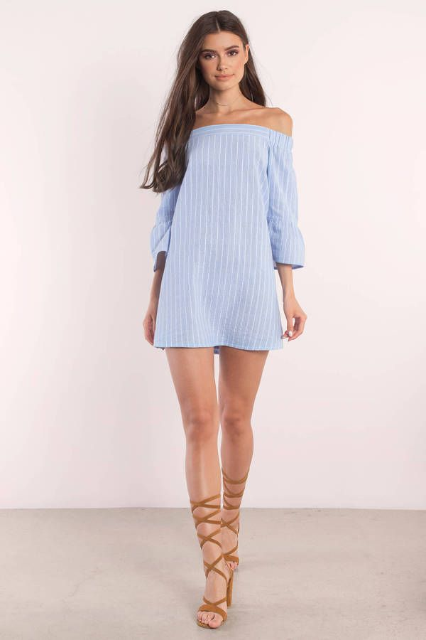 42ea1edf2b62 Abby Striped Off Shoulder Dress. Abby Light Blue Striped Dress