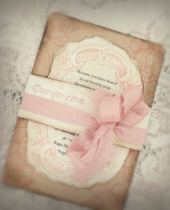 Fairy tale wedding invitation-Romantic Wedding Invitation- Vintage Invitation -Rustic wedding-Pink Wedding Invitation Can you say Vintage