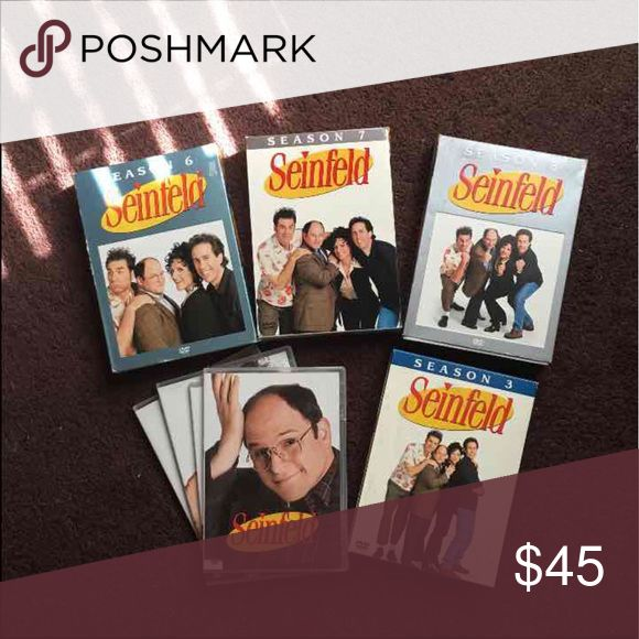 Seinfeld Seasons 6-9 on DVD Seinfeld Seasons 6-9 on DVD. Season 9 is missing the cover, but all the discs and cases are there. All DVD's are in excellent condition. For purchasing I will throw in Season 3 for Free!!! Who doesn't love to laugh 😂? Seinfeld will definitely make you!!!! Entertainment Other