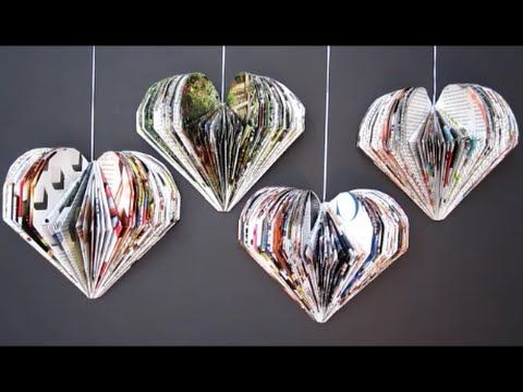 DIY Valentine's Day Room Decor Ideas | Recycle Magazine 3D Hearts | Recycled Crafts Ideas For Kids - YouTube