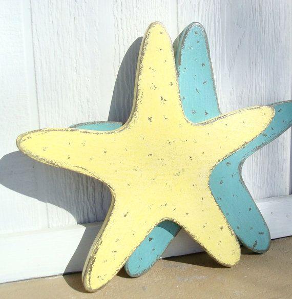 Large wood starfish pastel by folkybirdsandfish.