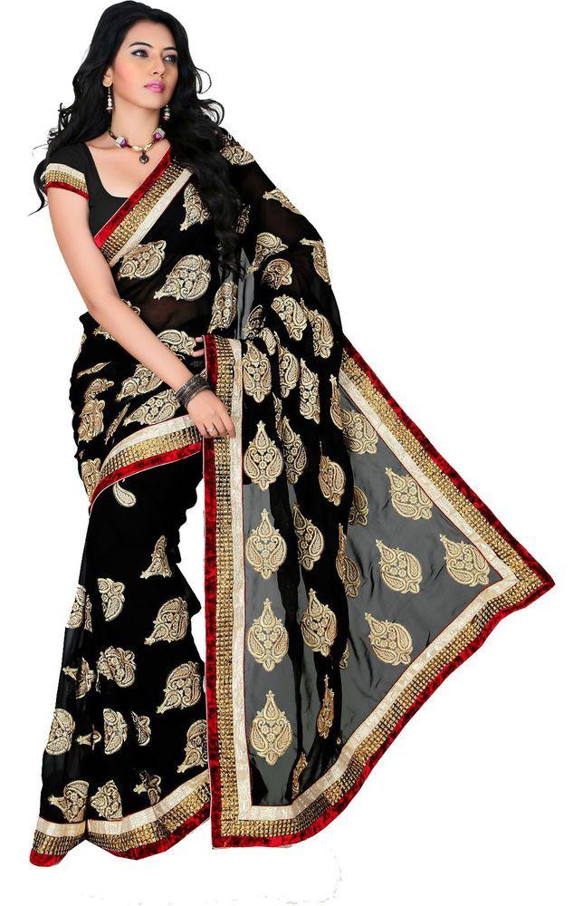 Black Wedding Wear Gota Patti Work Indian Bollywood Faux Georgette Saree/Sari #SareeStudio