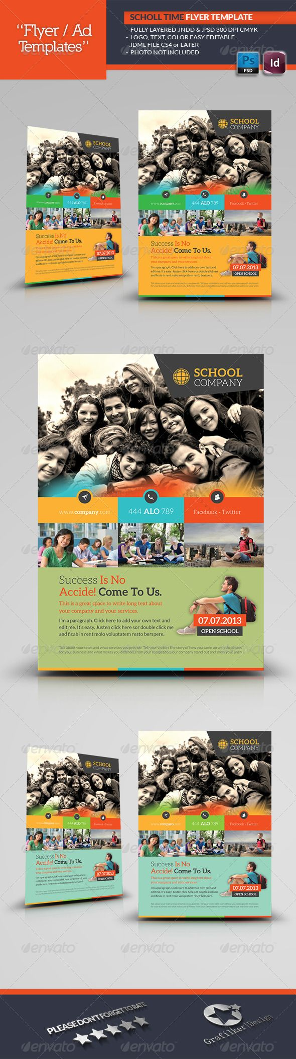 School Time Flyer Template — Photoshop PSD #time #sports school • Available here → https://graphicriver.net/item/school-time-flyer-template/5816101?ref=pxcr