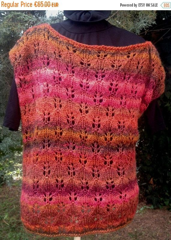 ON SALE 50% Off Knitted tank top autumn colours by PixiesFairies