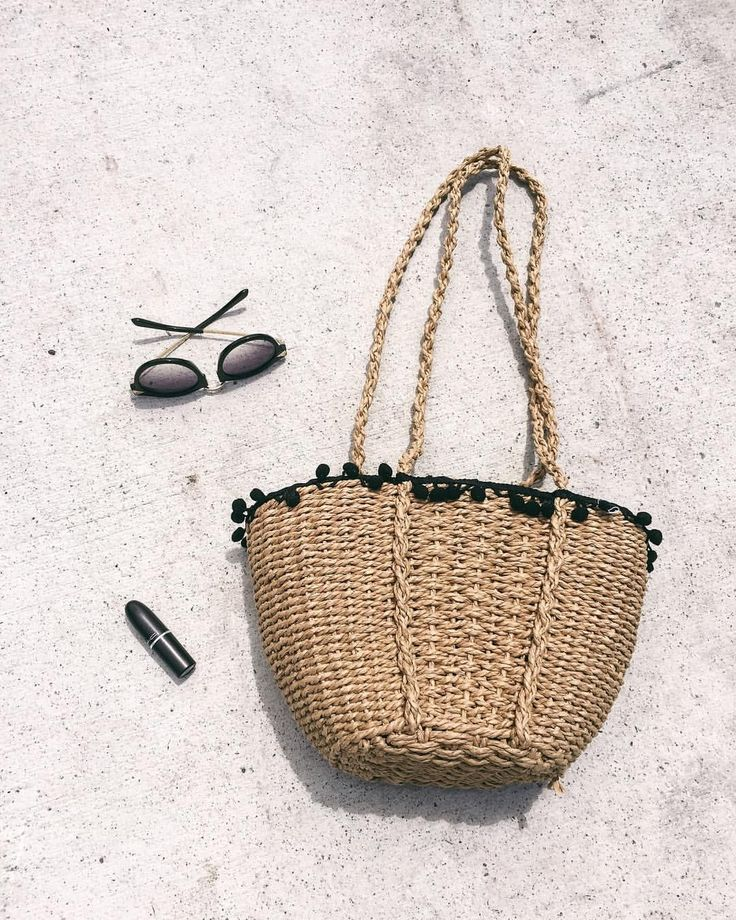 Summer straw bag, pom pom straw bag, zara bag, black sunglasses, summer style, summer accessories, beach accessories, @thelustlife_
