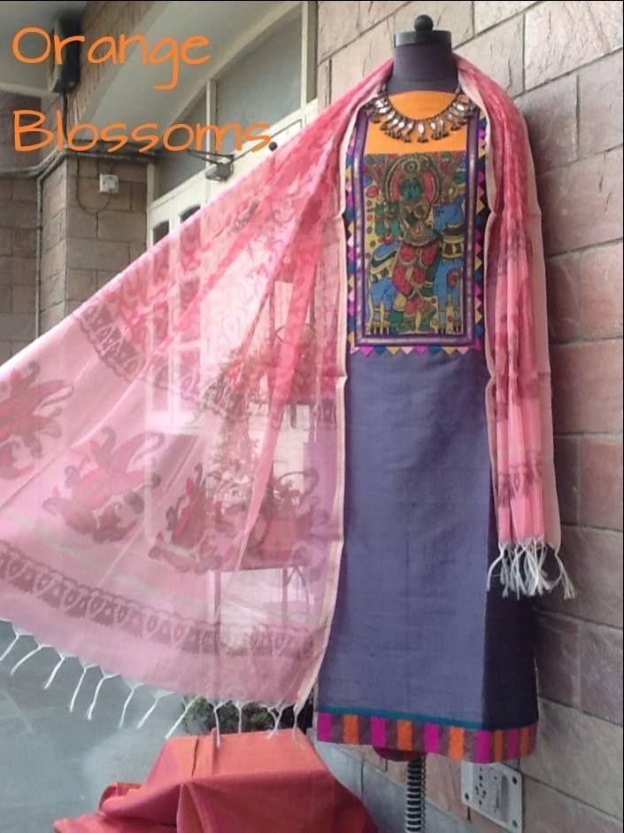 Kalamkari on silk kurta. Available at www.facebook.com/orangeblossomwomensclothing