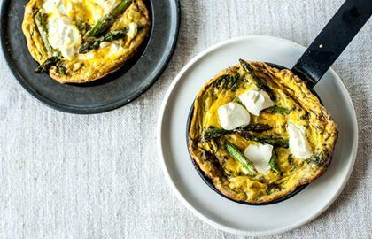 Grilled asparagus, soft cheese and mint frittata - Bruno Loubet