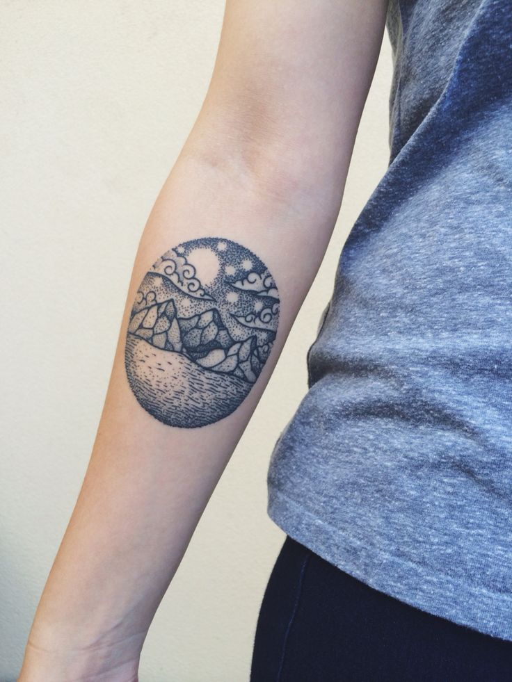 Moon And Cloud Tattoo Small: Black Line And Dot Dreamscape Tattoo. Mountains, Ocean
