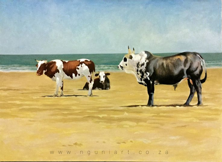 Nguni on the beach oil painting