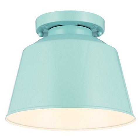 Feiss Exton 1-Light Flush Mount, Blue exterior light. Crafted of metal with a high-gloss blue finish, this outdoor flush mount will add contemporary style wherever it's placed. Hardwired.