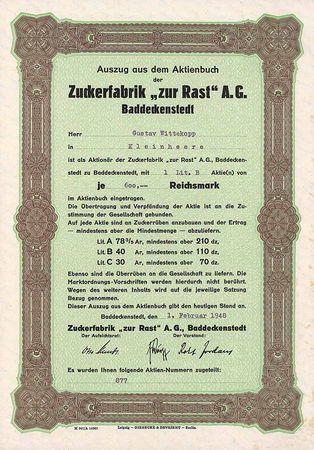 Zuckerfabrik  zur Rast AG Aktie Lit. B 600 RM 1.2.1948 (Auszug aus dem Aktienbuch, R 10).