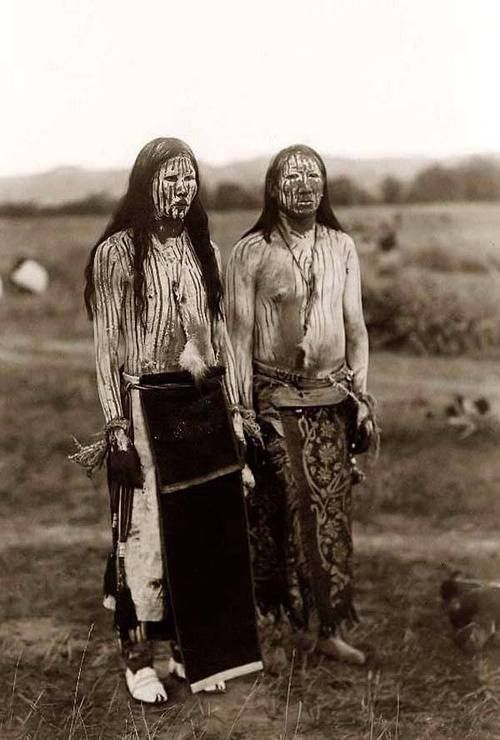 """Edward S. Curtis- Two young Cheyenne Indian men in ceremonial paint : """"The Sun Dance Pledgers"""", 1910"""
