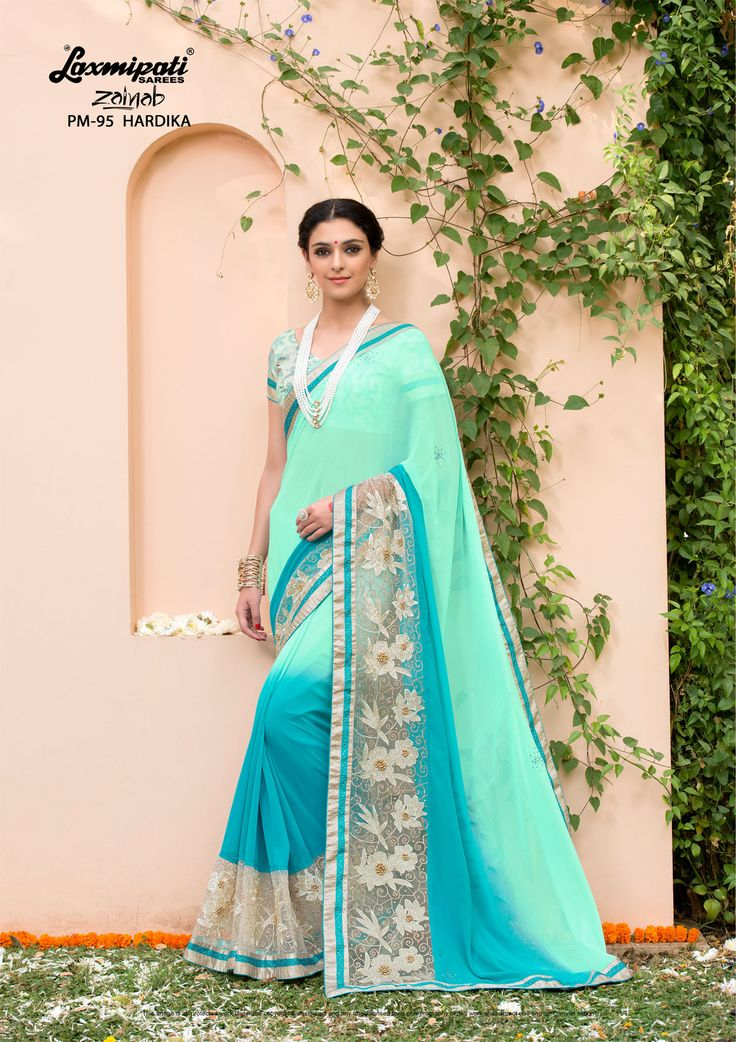 Get this Magnificent Sea Green & Blue #Embroidered #Georgette #Party_Wear Stone Zari Work #Saree and Sea Green Rawsilk Blouse along with Fancy Stone Lace Border for your special occasion. #Catalogue- #Zainab #DesignNumber- #Zainab 95 #Price - ₹ 4408.00