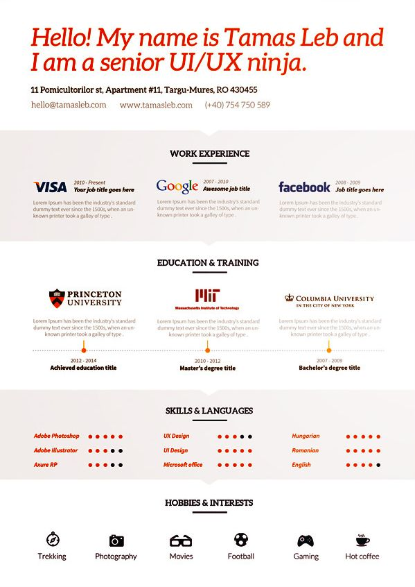 43 best Resumes images on Pinterest Resume design, Design resume - resume paper color