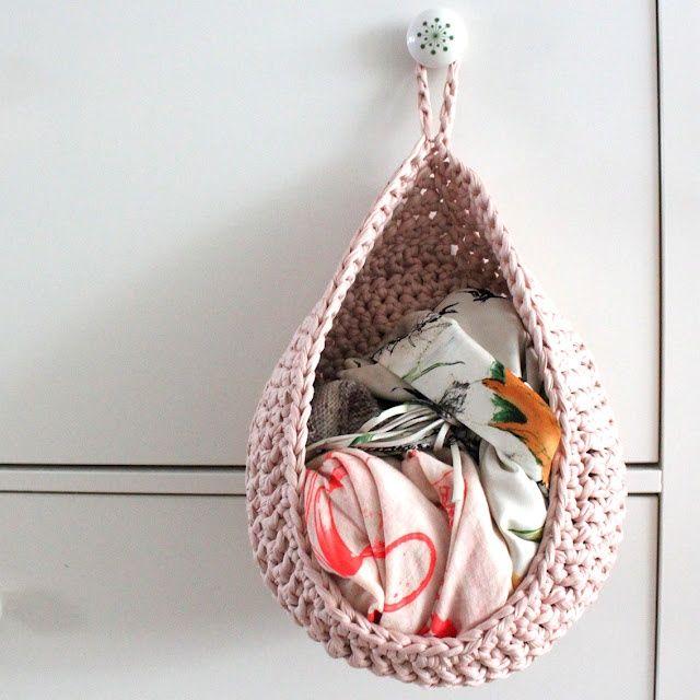 Crochet hanging basket.