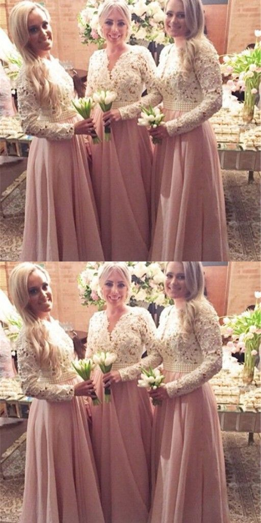 Altrosa Brautjungfernkleider Spitze Lang Chiffon Gunstig Kleider Fur Brautjungfern Online Modellnummer Yy029 Modelos De Vestido Vestidos Y Modelos