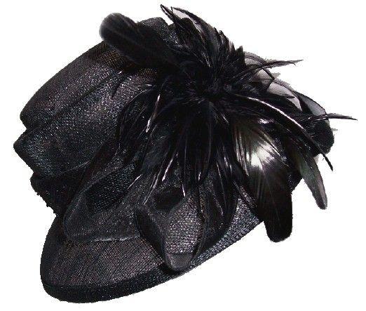 Eleganter schwarzer Sinamay Damen Anlass Sommer Hut