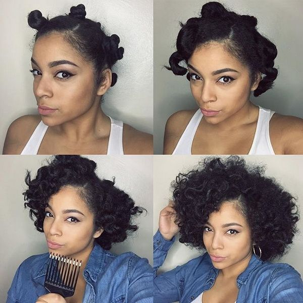 Easy Protective Bantu Knots For Natural Afro Volume Hair Ideas