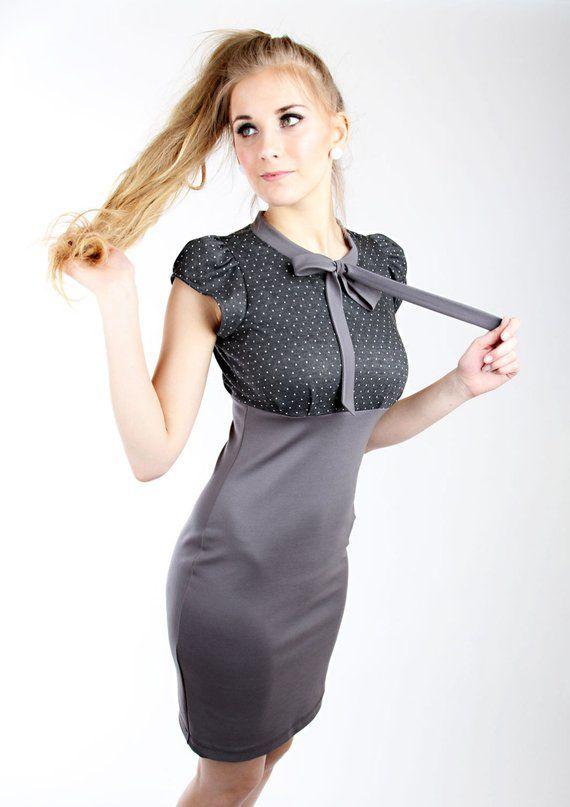 Meko Schlefy Kleid Grau Damen Kurzarm Punkte Etsy Kleiderstile Kleider Etuikleid