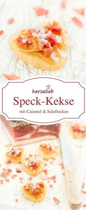 Plätzchen Rezepte: Speck Kekse mit Caramel und Salzflocken. Einfaches und ungewöhnliches Rezept. #kekse #plätzchen #caramel #bacon #speck