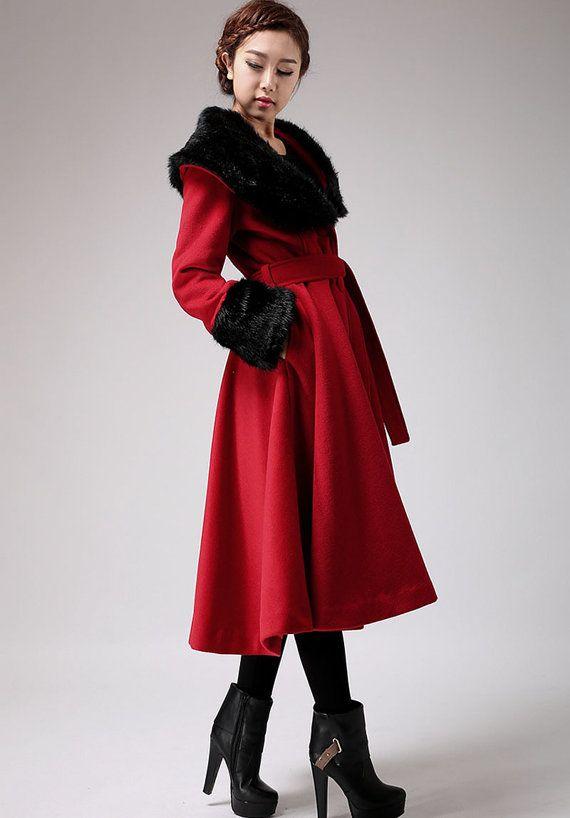 Rot Kaschmir Mantel Jacke warme wolle Wintermantel (706)