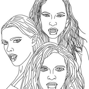 Vampire, The 3 Empusa Mythical Vampires Coloring Page The