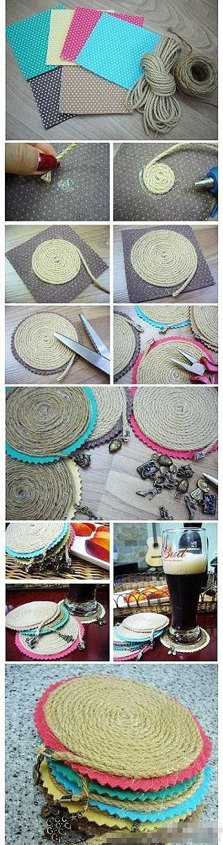 DIY Coasters - I like the idea, but I'd make these without the little dangley charm.