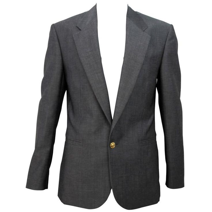 Versace SS 2015 Fitted Grey Blazer  | From a collection of rare vintage jackets at https://www.1stdibs.com/fashion/clothing/jackets/