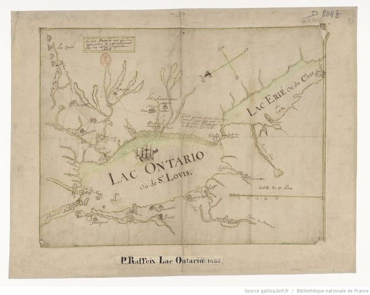 Le lac Ontario avec les lieux circonvoisins et particulièrement les cinq nations iroquoises, 1688 / [par le P. Raffeix, S.J.]