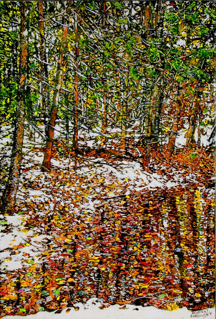 "overnight snowfall (46) boy scout road (5)   36"" x 24""  micheal zarowsky / mixed media (watercolour / acrylic painted directly on gessoed birch panel) available $2300.00"