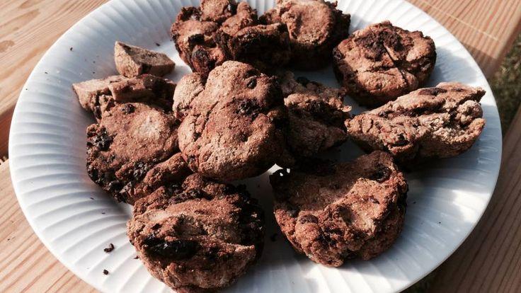 Rugbrødsmuffins med chokolade og tranebær | Mad