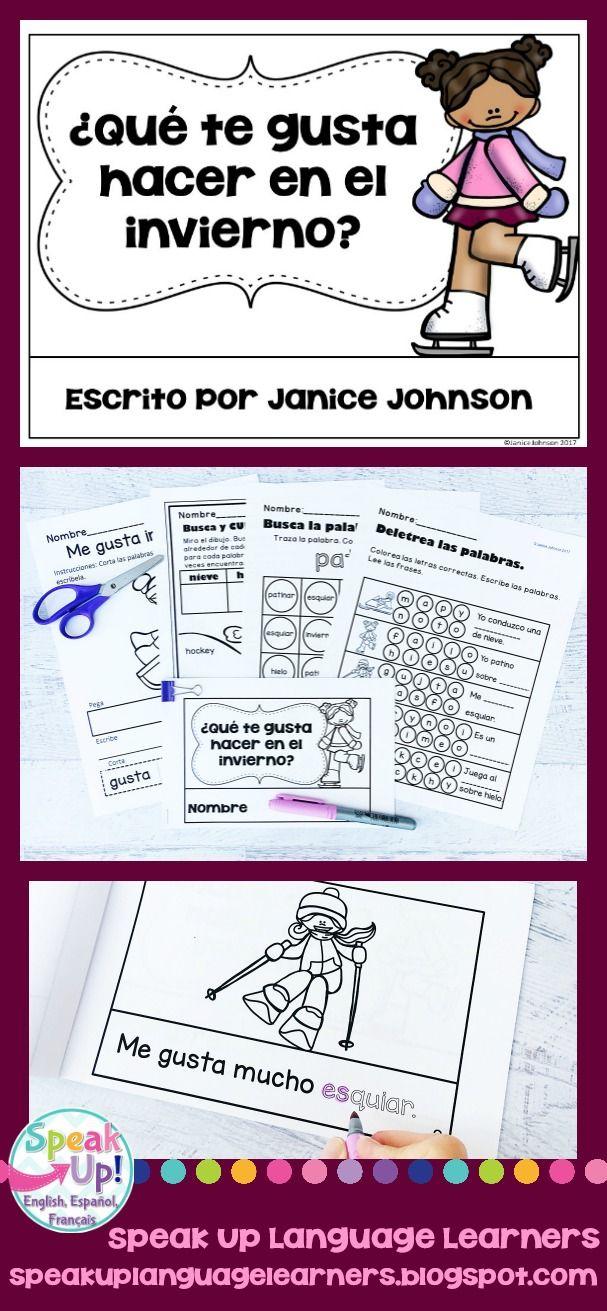 ¿Qué te gusta hacer en el invierno? Spanish winter Activity Reader {en español} & Vocabulary Activities ~ Simplified for Language Learners