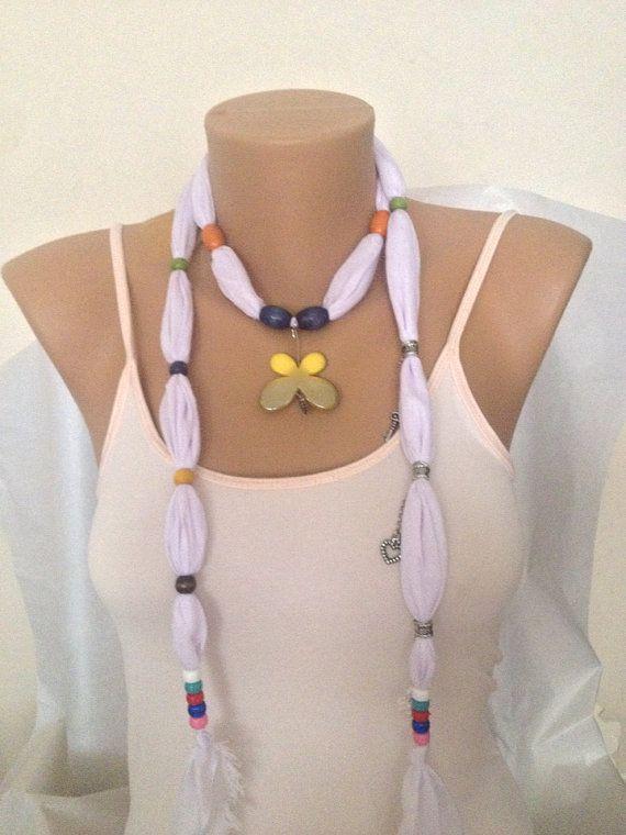 White Jewelry Scarf Jewelry Scarf  Scarf Necklace  by MaxiJoy on Etsy $12.00
