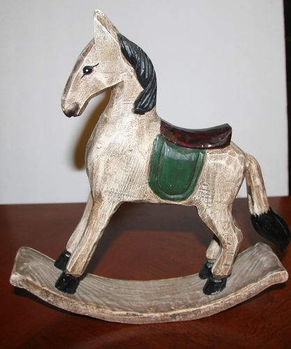 """HAND CRAFTED 11"""" TALL WOODEN ROCKING HORSE ANTIQUE PRIIMITIVE DESIGN 