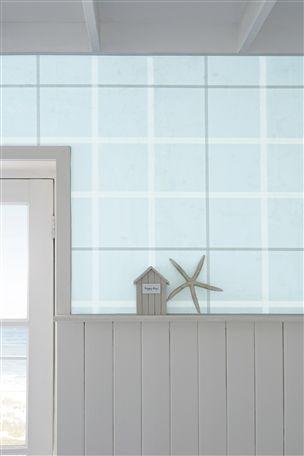 Promenade Teal Check Wallpaper
