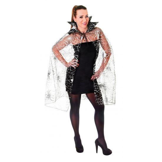 Enge cape bezaaid met spinnen en spinnenwebben. Bijvoorbeeld geschikt als cape bij een heksen- of halloweenkostuum!