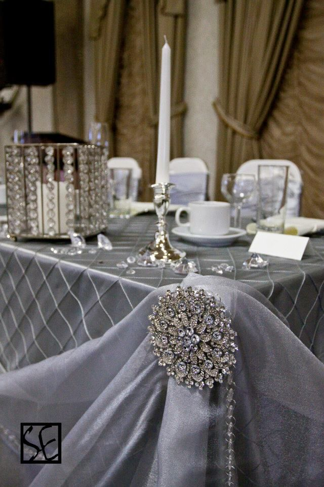 For Tanya .sweetheart table .... chiffon draping  make large jewel for corner with cardboard and flat jewels and silver bead strands...  silver accents.... First Lady table coverings.....WOW -OR-key chain rings  with ribbon intertwined to make long links.....