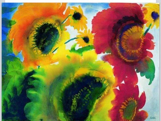 Illuminata, in costante svolta e ricerca del divino sole. #Girasoli rossi e gialli - Emil #Nolde #TvArte