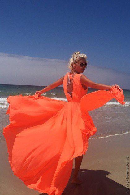 Beach dress / Пляжные платья ручной работы. Ярмарка Мастеров - ручная работа. Купить Платье-туника Коралл/солнце. Handmade. Коралловый, платье коктейльное