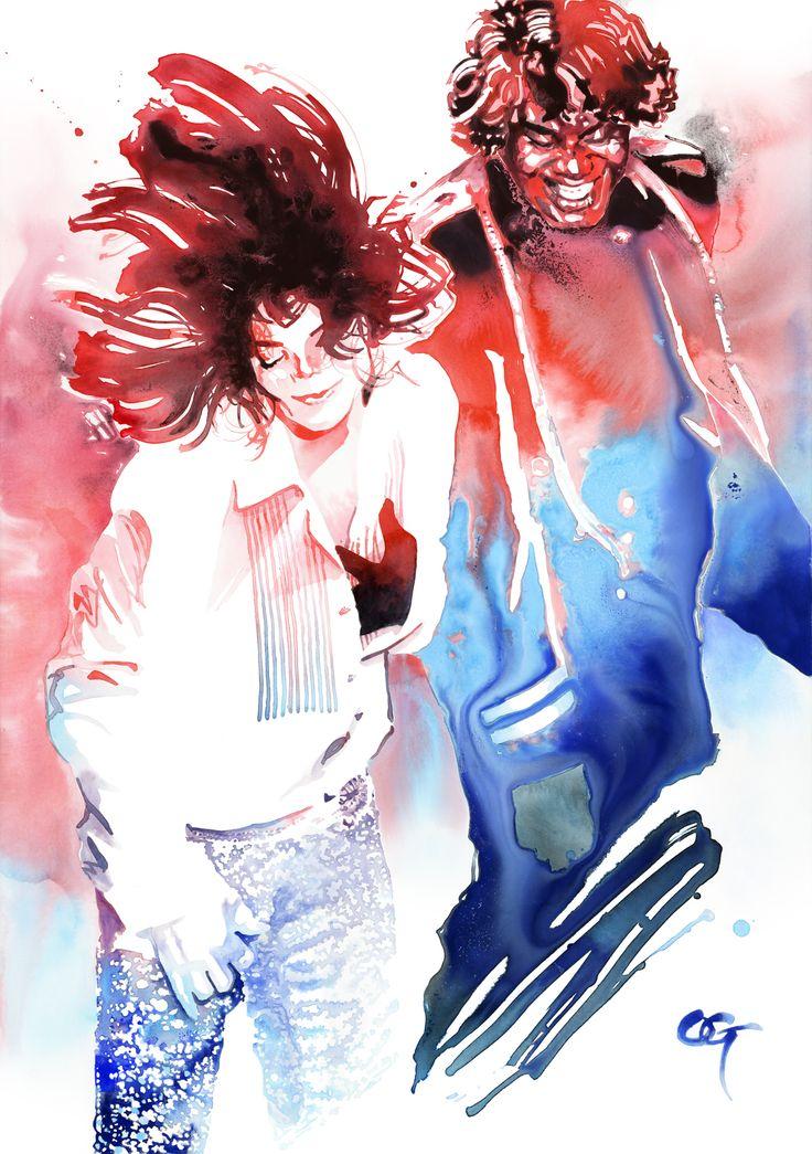 #Michael_Jackson #James_Brown #OHGUSHI #portrait_painting #illustration #watercolor #japanese_ink #墨絵 #水彩